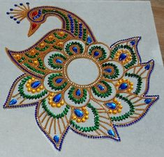 My kundan rangoli peacock design Rangoli Designs Flower, Rangoli Designs Images, Rangoli Designs Diwali, Thali Decoration Ideas, Acrylic Rangoli, India Art, Peacock Design, Creative Crafts, Krishna