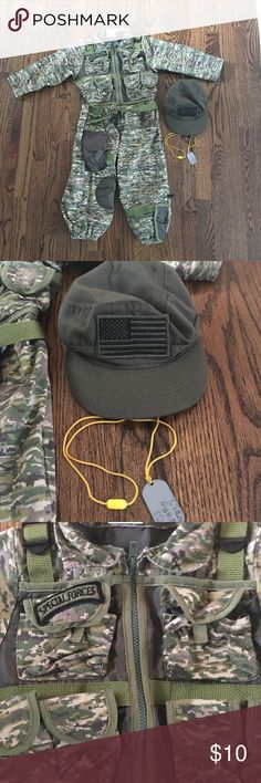 Military Costume Camouflage costume. Could be Army or any branch. It says special forces. Includes Costume, hat and dog tags. Does not say size, but i would guess size 4/5. Good condition. Great for dress up or Halloween. Costumes Halloween