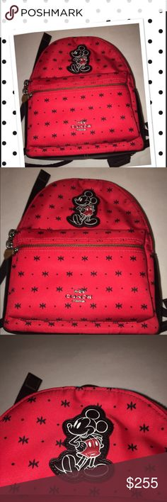 Rare red Disney X Coach red bandana print Backpack Absolutely gorgeous NWOT Mickey Mouse Disney X Coach bag. Has a zipper pouch inside, a zipper pounce on front, and zips all around. Mickey Mouse on front and Coach label inside to confirm authenticity. These bags are no longer sold in any Coach stores! The contract ran out on these bags, so they cannot be sold in any stores anymore! MSRP $395. Comes from a smoke-free home! NWOT. Pristine condition! Coach Bags Backpacks