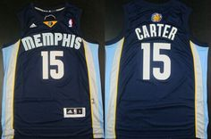 Memphis Grizzlies #15 Vince Carter Revolution 30 Swingman Navy Blue Jersey