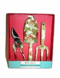 Delightful Waverly Floral Print Garden Tool Set   Pruning Shears, Trowel, Cultivator    White With Pink Flowers