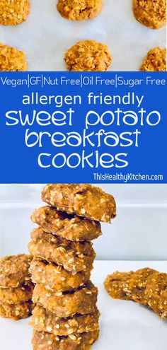 Allergen friendly sweet potato cookies are delicious and nutritious. They contain no added sugar, making them a perfectly healthy breakfast choice. Vegan Dessert Recipes, Vegan Breakfast Recipes, Vegan Sweets, Dairy Free Recipes, Brunch Recipes, Whole Food Recipes, Cooking Recipes, Healthy Desserts, Baby Recipes