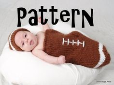 Newborn Football Sack/Hat PATTERN PDF by DawnHopeKnits on Etsy, $5.00
