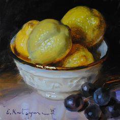 "Daily Paintworks - ""Bowl of Lemons"" - Original Fine Art for Sale - © Elena Katsyura"
