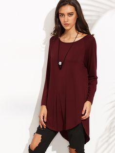 Burgundy Raglan Sleeve Curved Hem High Low T-shirt | MakeMeChic.COM