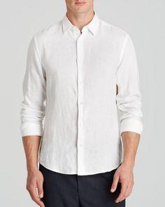 Vince Yarn-Dye Linen Chambray Button Down Shirt - Slim Fit