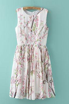 Gorgeous Cherry Blossoms! So Pretty! Elegant Cherry Blossom Floral Print Chiffon Dress #Elegant #Cherry_Blossom #Floral #Dress #Fashion