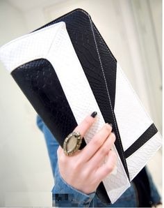 Flowertree® Womens Snakeskin Embossed Leather Flap Clutch Handbag Black white *** Find out more about the great product at the image link. (This is an affiliate link)