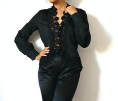 French Vintage Romantic Black Lace Blouse by bOmode on Etsy, $68.00