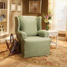Sure Fit Cotton Duck Wing Chair Slipcover, Green
