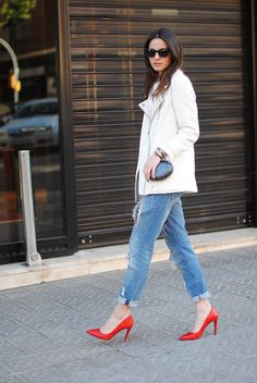 Moto jackets feel infinitely more seasonal in white — and even cooler juxtaposed against a bright pair of pumps.