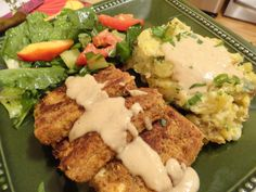 """Chicken-Fried"" Tofu Steak with Creamy Mashed Potatoes and White Gravy"