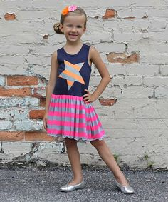 Look at this Gus & Lola Navy & Orange Stripe Star Tank Dress - Infant, Toddler & Girls on #zulily today!