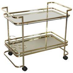 Gold Metal, Glass and Mirror Two-Tier Bar, Tea Cart or Serving Cart | 1stdibs.com