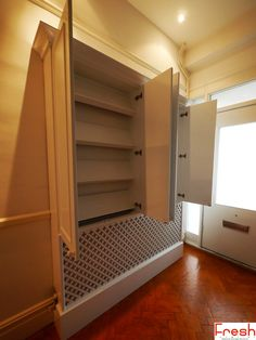 Coat & shoe storage unit, Blum soft close hinges & integral radiator cover, hand painted, water based gloss_D_Web Coat And Shoe Storage, Shoe Storage Unit, Alcove Storage, Storage Shelves, Light Building, Building A House, Shoe Cupboard, Coat Shoes, Radiator Cover