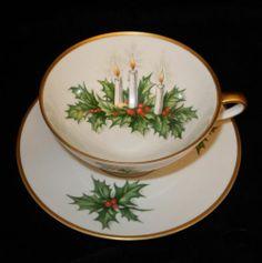 Vintage Hutschenreuther Tirschenreuth Holly Noel Christmas Tea Cup Saucer 3748 G