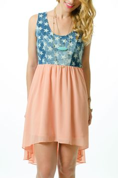 Show your pride this Memorial Day with our denim starlet dress! lmaeboutique.com