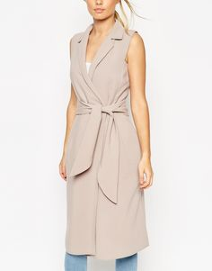 Image 3 of ASOS Sleeveless Shirt Dress with Belted Wrap Front