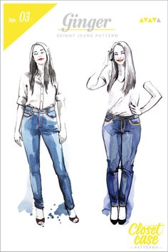 How to convert the Ginger Jeans sewing pattern into a jean skirt pattern! Featuring a tutorial from Blueprints for Sewing.