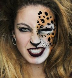 Make up leopard - ideas for leopard face painting for carnival . Up Halloween, Halloween Face Makeup, Leopard Halloween Makeup, Kids Halloween Face Paint, Tiger Halloween Costume, Leopard Face Paint, Leopard Cat, Make Carnaval, Animal Makeup