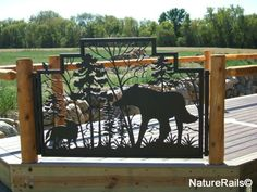 Custom gate for deck or porch. This client wanted a wolf scene and the gate also has a tiny bird welded to the top! Oil rubbed Bronze color for exterior applied to this. Porch Gate, Deck Gate, Porch Stairs, Driveway Gate, Deck Railings, Metal Gates, Iron Gates, Metal Projects, Welding Projects