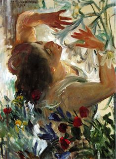Woman with Lilies in a Greenhouse, Lovis Corinth, 1911.