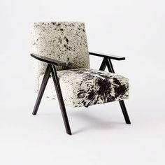 Retro Cowhide Chair - Black White #westelm