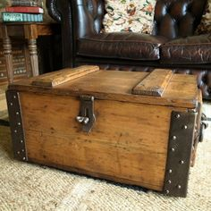VINTAGE MILITARY CHEST Industrial Storage Trunk WWI AMMO CHEST Rustic Pine  Box