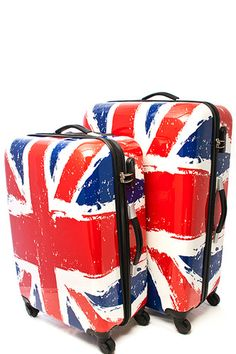 NEW Union Jack Hard Shell Luggage Set www.TheConsignmentBag.com We ship Worldwide and New Items arrive daily! Follow us and have items delivered straight to your front door! #unionjack #travel #vacation #luggage #london