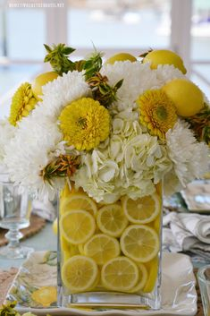Lemons and Bees Tablescape and Flower Arrangement | ©homeiswheretheboatis.net #lemons #bees #tablescape #flowerarrangement #DIY Vase Arrangements, Floral Centerpieces, Flower Arrangement, Centerpiece Ideas, Table Decorations, Lemon Seeds, Bee On Flower, Flower Power, Hydrangea Not Blooming