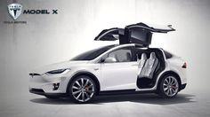 2016 Tesla Model X Blue Car Wallpaper