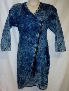 VTG 80's Acid Wash L XL Denim Shirt Dress Mod Retro Zip Front Shoulder Pad Party #Unbranded