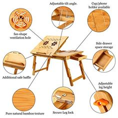 Laptop Desk Super Top Laptop Table 100% Bamboo Desk Adjustable with USB Fan2 Foldable Breakfast Serving Bed Tray Drawer