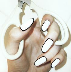 white with black border manicure