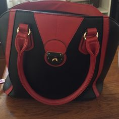 Purse w shoulder strap never used tags still on Red and black purse Charming Charlie Bags Shoulder Bags