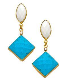 Kanupriya White Agate Turquoise Marquise Drop Earrings