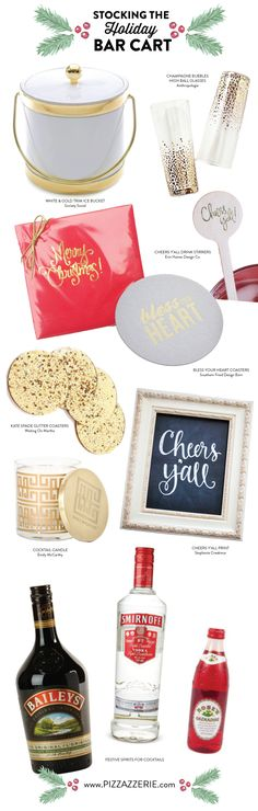 Get tips and ideas for stocking the holiday bar cart with lots of festive pizzazz from drinks to decor! | Pizzazzerie
