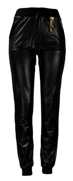 New Women's Black PU Feel Polyester Pants Joggers with Stretchable Waist in Pants   eBay