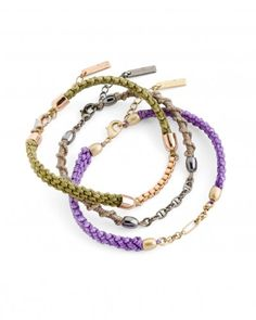 The Friendship Bracelets by Jewelmint.com $29.99 I still love the idea of friendship bracelets just like when i was a little girl! Green represents goodwill, gray serenity, and purple peace.