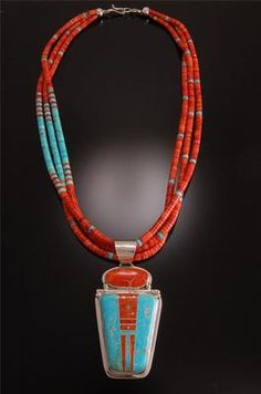 Coral and turquoise bead necklace~ like way the turquoise is only on one side