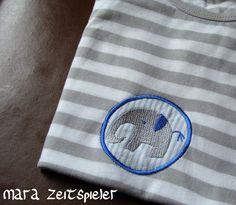 """T-Shirt mit Elefant """"Fanti"""" ~ Mara Zeitspieler. Lustige Elefanten als Applikationen für die Stickmaschine."""