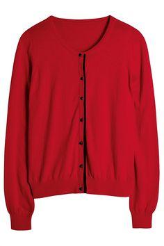 Next red woven trim cardigan