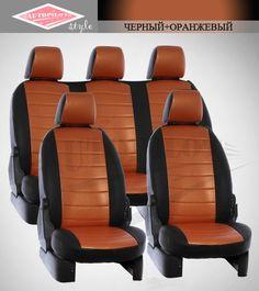Черные с Оранжевым чехлы Автопилот на сиденья от интернет магазина Autopilot style. http://autopilot-style.ru/ для Пежо, Рено.