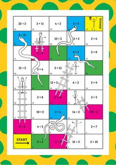 Times Tables Snakes and Ladders by Engaging Education Australia Math Lab, Go Math, Math Literacy, Math For Kids, Free Math Games, Math Card Games, Math Activities, Math Resources, Teaching Multiplication Facts