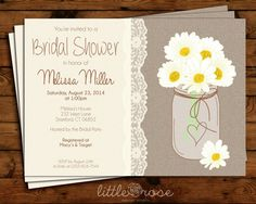Bridal shower invitation featuring daisies in a mason jar with a lace trim on the text frame, and textured background.    See it with yellow