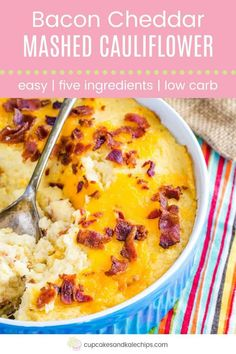 Cheesy Mashed Cauliflower with Bacon - take your usual veggie side dish to another level in this easy casserole with bacon and cheddar cheese. Five ingredients, seriously easy, and so delicious, the entire family will be going for seconds and thirds. Cheesy Mashed Cauliflower, Cauliflower Recipes, Vegetable Recipes, Cauliflower Vegetable, Veggie Side Dishes, Food Dishes, Recipes With Soy Sauce, Mashed Potato Recipes, Cheese Appetizers