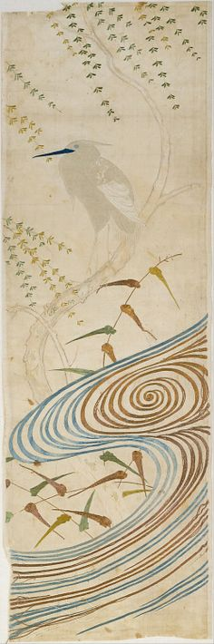 """japaneseaesthetics:   Large fragment from aNoh Costume (particular style = Nuihaku) with Egret (Sagi) and Willow Tree. 1750-1850, Japan. Embroidered silk satin. """"A white bird stands on the sinuous trunk of a willow tree above the waters that surge below. Egrets and herons are grouped together under the Japanese term sagi. In literature, they figure in an episode in the medieval Tale of the Heike that inspired a noh play called Sagi. In this fable, set during an imperial outing in a…"""