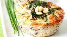 Mini Quiches With Mushrooms, Mozzarella And Pine Nuts