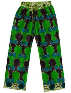 SMALL Free Shipping Adult African Pajama Pants in Kelly Green and Blue Fans African Clothing for Women PJP-028, Dsenyo