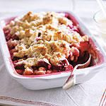Rhubarb Sour Cherry Crisp—If you use fresh sour cherries, soaking isn't necessary. Serve with The Classic Creme Anglaise (recipe link below).